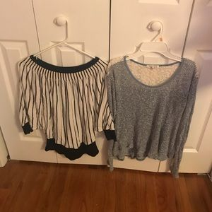 Black and white sweater and blue and white top